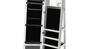 41oxnHCqt+L 310x165 - SONGMICS Schmuckschrank mit 160 cm hohem Spiegel abschließbar um 360°drehbar mit Leiterregal JBC62W