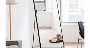 41awPGmGVdL 310x165 - AUFHELLEN Standspiegel mit Schwarz Metallrahmen 140x40cm HD Groß Ganzkörperspiegel mit Haken für Wohnzimmer oder Ankleidezimmer