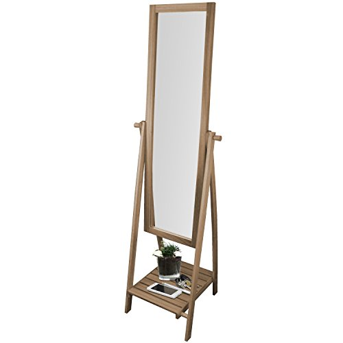 Multistore 2002 Standspiegel mit Ablage 52x48x174cm Holz Ganzkörperspiegel Ankleidespiegel Garderobenspiegel Flurspiegel