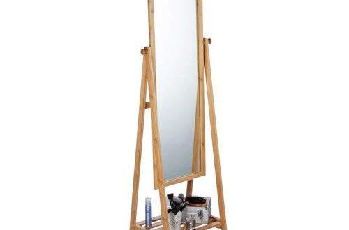 Relaxdays Natur Standspiegel Bambus schwenkbarer Spiegel Ankleidespiegel mit Ablage zum 500x330 - Relaxdays, Natur Standspiegel Bambus, schwenkbarer Spiegel, Ankleidespiegel mit Ablage, zum Stellen, HBT: 160x40x36 cm, Standard