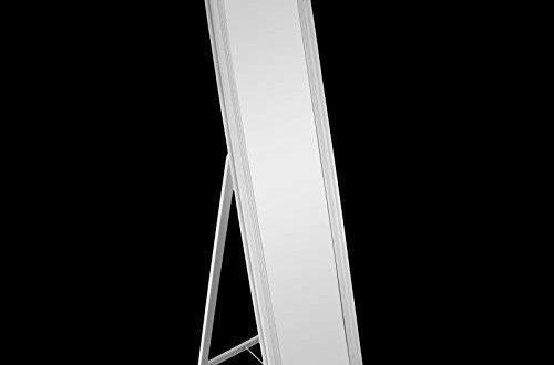 DRULINE Standspiegel Ankleidespiegel Garderobenspiegel Ganzkörperspiegel mit Kronenrand Barock-Stil Kunststoff, Glas (Weiß) 170 cm x 45 cm